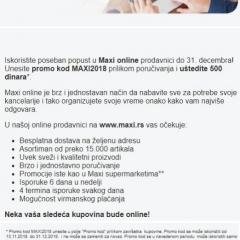 Maxi - Ne propustite Maxi vam poklanja 500 dinara za online kupovinu - screenshot
